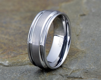 Brushed Tungsten Band, Mens Women's Tungsten Wedding Band, polished grooved edges, 8mm, Comfort fit, Tungsten Carbide, Wedding ring,
