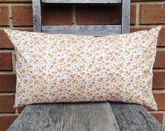 Handmade Orange and Cream Vintage Floral Print Lumbar Cushion Cover/Pillow Cover, Lightweight Thin Cotton, Medium 30cm x 50cm