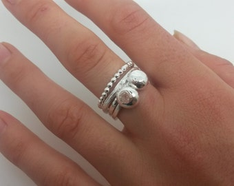 Sterling Silver Double Droplet Ring