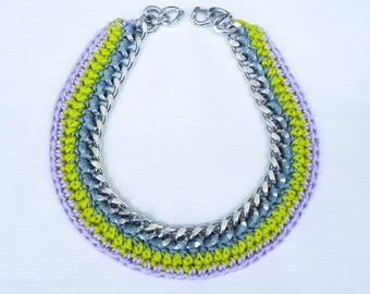 Grey, Purple, Green Crochet Necklace, Chain Necklace