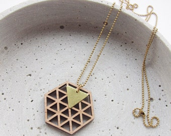TRIANGLES wood - brass - long chain - Hexagon-