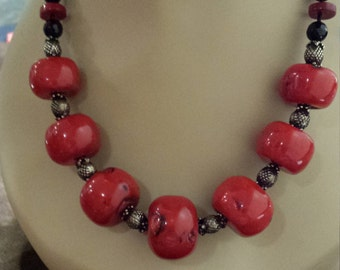 One strand coral, black onyx, sterling necklace