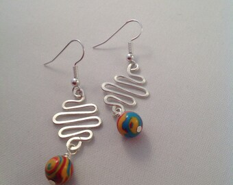 Silver zigzag earrings