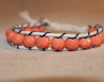 Coral and Navy Wrap Bracelet