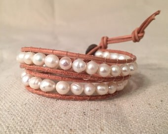 Freshwater Pearl and Tan Wrap Bracelet