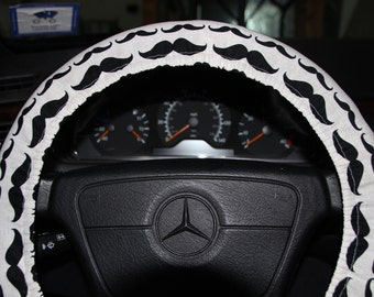Mustache Cover Wheel.  Steering Wheel Cover .  Beige with  Black Mustache Car Accessories.