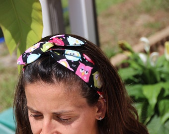 Owl wired  Headband -Print Summer Trend - Headband wrap Twist .