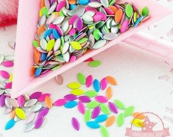 Mix neon colors Marquise shape nail studs 3D Design Manicure~Q3-01