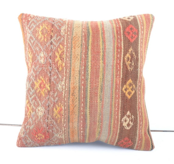 Pastel Soft Grape Kilim Pillow Cover With Yellow By