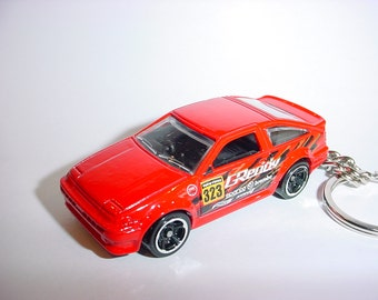 3D Toyota AE-86 Corolla custom keychain by Brian Thornton keyring key chain finished in red GReddy racing color trim