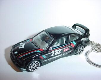 3D 1994 BMW M3 gtr custom keychain by Brian Thornton keyring key chain finished in black racing trim
