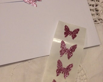 Shimmery Dusky Pink Glitter Butterfly Seals - Lot of 35 Glittery Handmade Sticker Seals