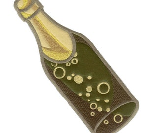 Champagne Bottle Bubbly Applique Machine Embroidery Design.