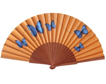 Blue Butterflies hand fan