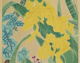 "Ukiyoe, Original Sōsaku-hanga, Woodblock print, antique, Eichi Kotozuka, ""Yellow iris"""