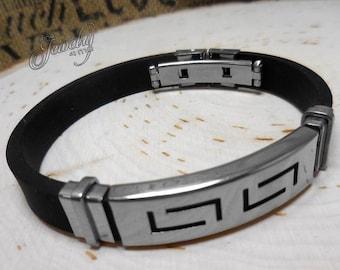 """Rubber Men's Geo Bracelet Stainless Steel Black 7""""-8"""""""