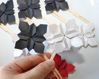 Origami Flower Cake Toppers.Origami flower.Paper flower.Handmade Origami cake topper.Origami wedding.Cake picks.Cake topper.Set of 9.