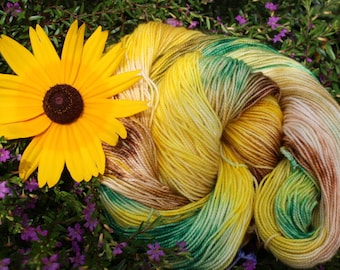 Sunflower Kettle Dyed Superwash Merino Sock Yarn