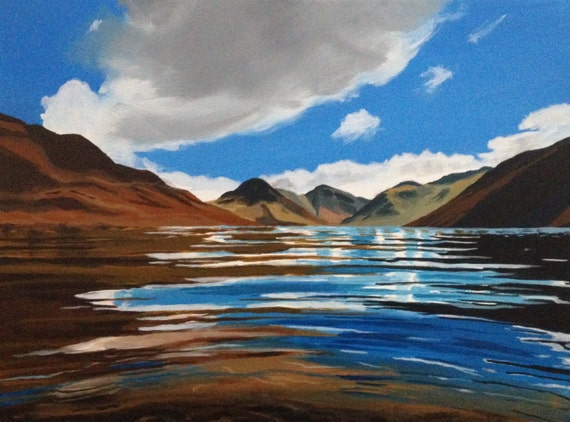 Landscape painting, Lake District, Wast Water, Cumbria