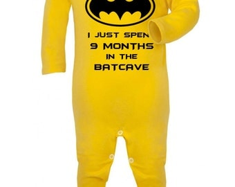 "Baby Romper ""I just Spent 9 months in the batcave""  Batman , Super Hero , Baby suit / Bodysuit / Sleep Suit"