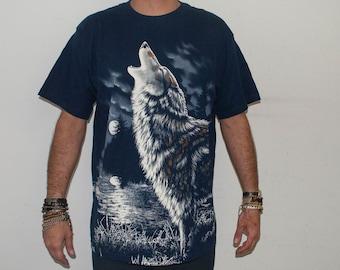 Vintage Full Print Wolf Tshirt Size XL