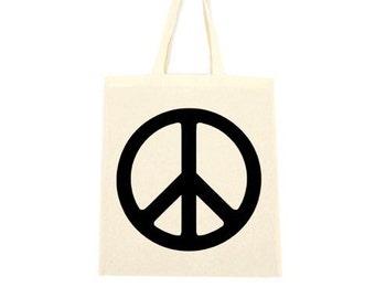 cotton tote bag, peace