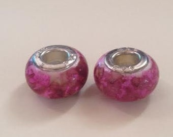 Acrylic Pink European Charms Set of 2