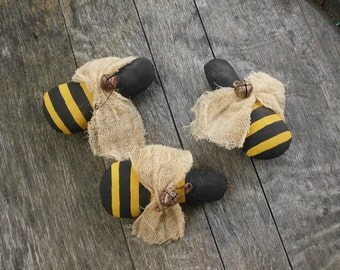 Handmade Primitive Bees, Bumble Bees, Country Bees, Rustic Bees, Bee Tucks, Bee Pillows, Bee Bowl Filler,  Yellow Black Bees,