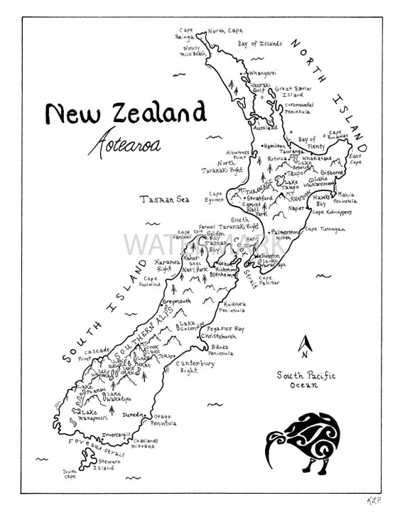 Line Drawing Of New Zealand : New zealand hand drawn map