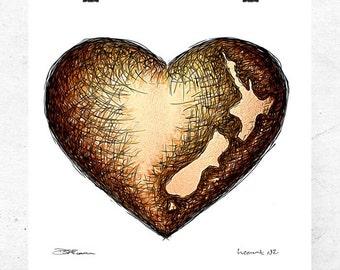 Heart NZ, fine art print.