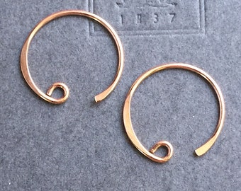 Ear Wire Rose Gold Vermeil Curved Hoop Loop Earring 16mm x 18mm One Pair FB1135