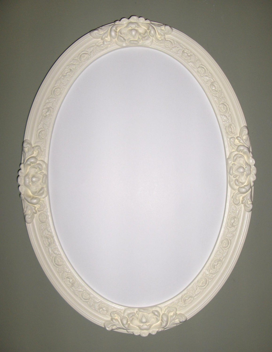 Oval mirror shabby chic with egg shell color frame by for Oval mirror canada