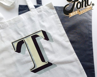 Initial Tote Bag. Personalise your Letter Shopper. Alphabet Monogrammed grey/white bag- Stirling Shadow Font. Font Not Found Accessories.