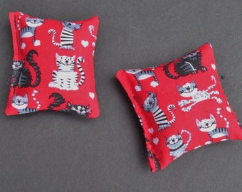 Red Catnip Toy; Red Cat Toys; Small Cat Toys; Set of Two; Kitten Gift Cat Print