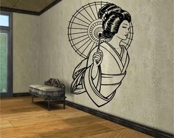 Geisha Vinyl Wall Decal Sticker Art Decor Bedroom Design Mural
