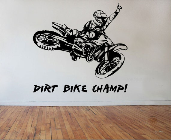 Dirt bike wall decal champion sticker art decor bedroom design for Dirt bike wall mural