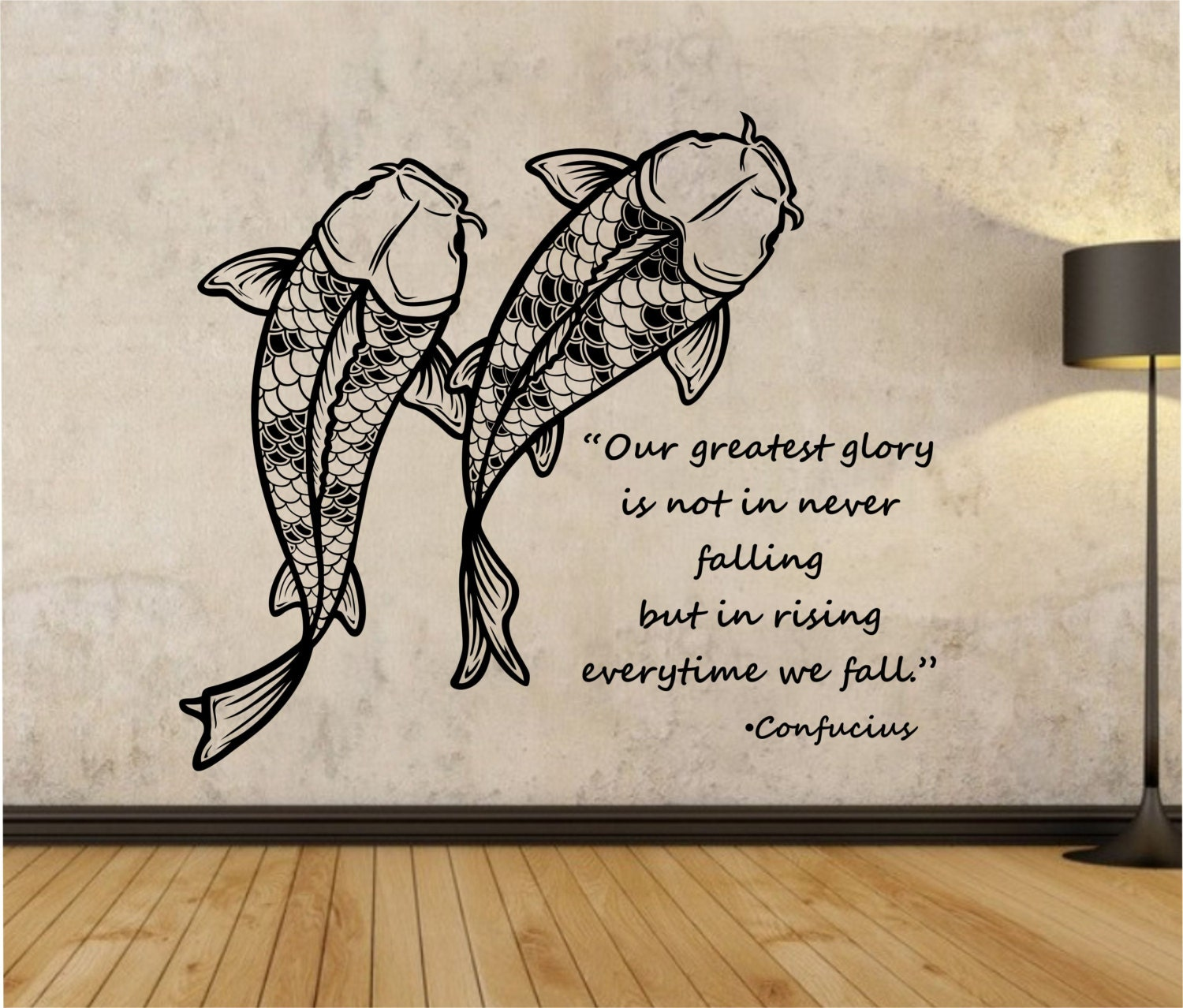 koi fish wall decal confucius quote sticker art decor bedroom
