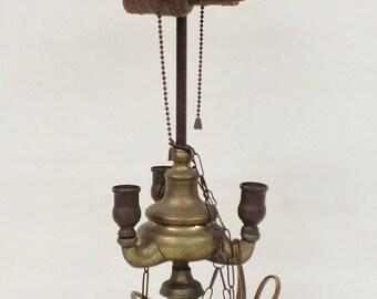 """Brass lamp 21"""" tall, weight 3.8 lb"""