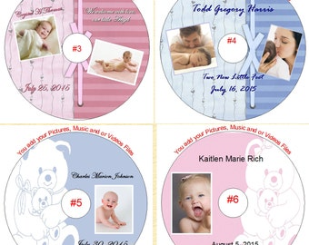 Baby Personalized CD or DVD Disk Your Digital Photo Baby Album Custom Made