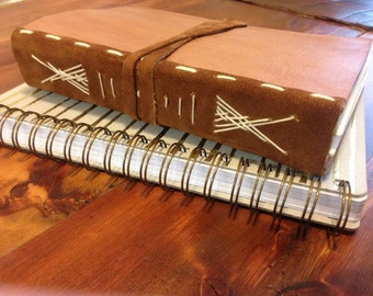 Handmade Large Leather and Suede Journal with Parchment Paper