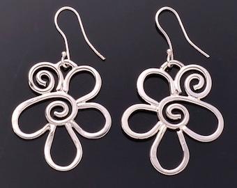 Silver Abstract Flower Earrings
