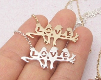 Love Birds On Branch Necklace, Love Necklace, Birds Necklace, Gold Bird Necklace, Twig Necklace, Bird Jewelry, Love Jewelry NB638