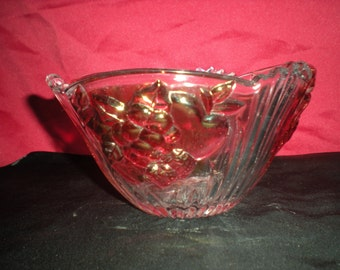 """Vintage glass multi colored friut bowl  with emobossed friut 6"""""""