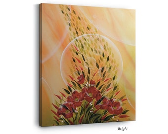 Colourful Inspiring Wall Art Print on Canvas, Home and Office Décor, Hang Ready, Small Size, The Rosy Flower, Laija Art