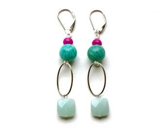 """Pemberley earrings in sterling silver, amazonite & dyed jade (semi-precious stones) """"Daphné"""" - Gemstone sterling silver earring"""