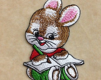 Mouse Writes The Book Iron On Embroidery Patch