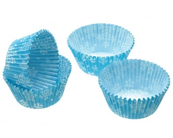 Frozen Cupcake Liners, Set of 75 - Blue Snowflake Cupcake - Frozen Birthday Party Cupcakes, Christmas Party