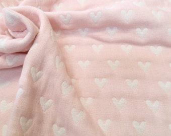 Throw blanket, baby blanket, gauze blanket, muslin blanket, stroller blanket ,light pink / ivory blanket,for baby girl