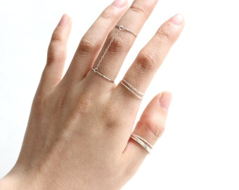 Sterling Silver Classic Slave Ring, Double Finger Ring, Chain Link Rings