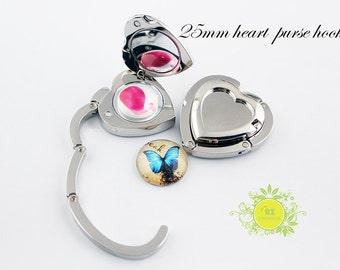 1pcs Purse Hook-25mm Heart Purse Hook Blank with Glass Cabochon-Purse Hanger-Purse Hook Hangers-Table Purse Holder Blank-Table Hook